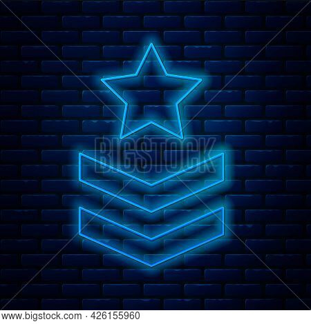 Glowing Neon Line Military Rank Icon Isolated On Brick Wall Background. Military Badge Sign. Vector
