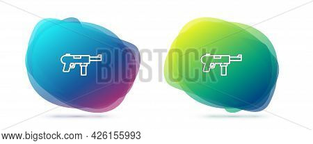 Set Line Submachine Gun M3, Grease Gun Icon Isolated On White Background. Abstract Banner With Liqui