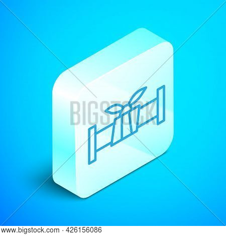 Isometric Line Industry Metallic Pipe Icon Isolated On Blue Background. Plumbing Pipeline Parts Of D