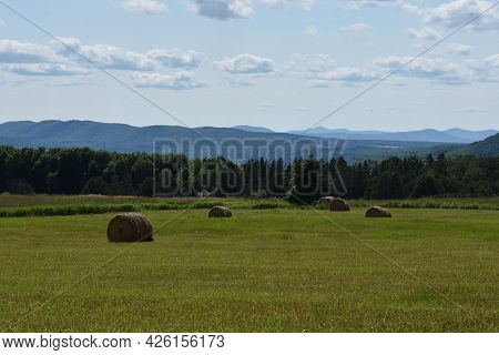 Countryside Landscape Of Harvest On A Farm In Quebec, Canada