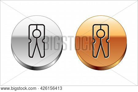 Black Line Old Wood Clothes Pin Icon Isolated On White Background. Clothes Peg. Silver-gold Circle B