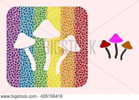 Dotted Mosaic Psychedelic Mushrooms Carved Pictogram For Lgbt. Rainbow Colored Rounded Square Mosaic
