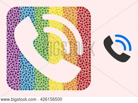 Dotted Mosaic Phone Ring Stencil Pictogram For Lgbt. Color Rounded Rectangle Collage Is Around Phone
