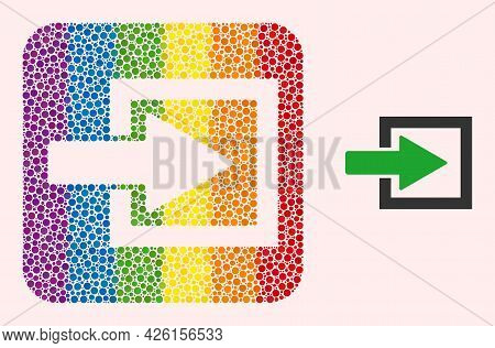 Dot Mosaic Import Arrow Stencil Pictogram For Lgbt. Multicolored Rounded Square Mosaic Is Around Imp