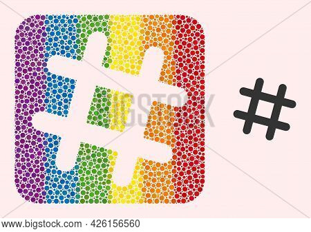 Dot Mosaic Jail Grid Stencil Icon For Lgbt. Rainbow Colored Rounded Square Mosaic Is Around Jail Gri