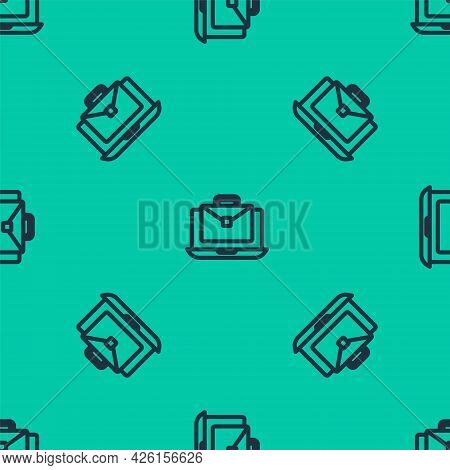 Blue Line Online Working Icon Isolated Seamless Pattern On Green Background. Freelancer Man Working