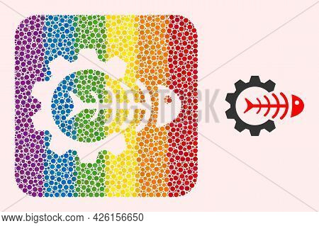 Dotted Mosaic Toxic Industry Hole Pictogram For Lgbt. Color Rounded Rectangle Mosaic Is Around Toxic