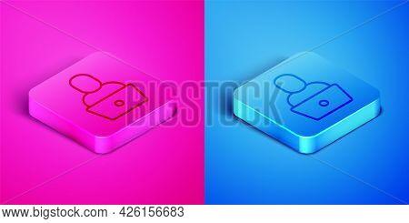 Isometric Line Freelancer Icon Isolated On Pink And Blue Background. Freelancer Man Working On Lapto