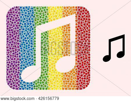 Dotted Mosaic Music Notes Stencil Icon For Lgbt. Color Rounded Rectangle Mosaic Is Around Music Note