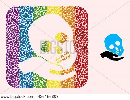 Dot Mosaic Hand Holds Skull Hole Pictogram For Lgbt. Colorful Rounded Square Mosaic Is Around Hand H