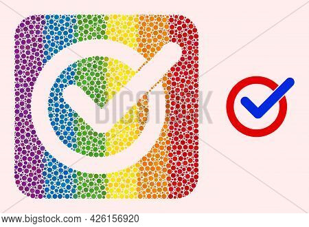Dotted Mosaic Vote Tick Subtracted Icon For Lgbt. Rainbow Colored Rounded Square Collage Is Around V