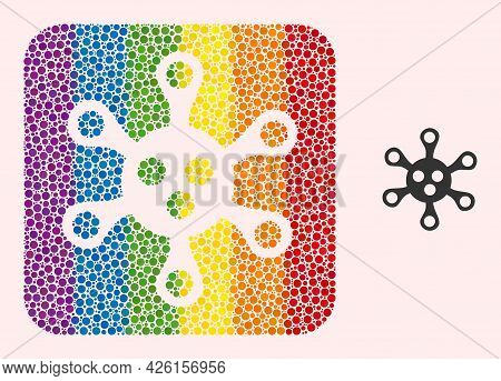 Dotted Mosaic Virus Hole Pictogram For Lgbt. Colorful Rounded Square Mosaic Is Around Virus Hole. Lg