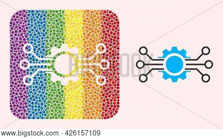 Dot Mosaic Gear Circuit Hole Pictogram For Lgbt. Rainbow Colored Rounded Square Mosaic Is Around Gea