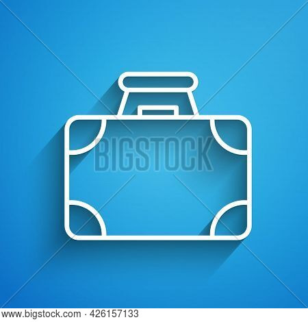 White Line Briefcase And Money Icon Isolated On Blue Background. Business Case Sign. Business Portfo