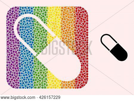 Dotted Mosaic Medical Capsule Carved Pictogram For Lgbt. Rainbow Colored Rounded Rectangle Mosaic Is