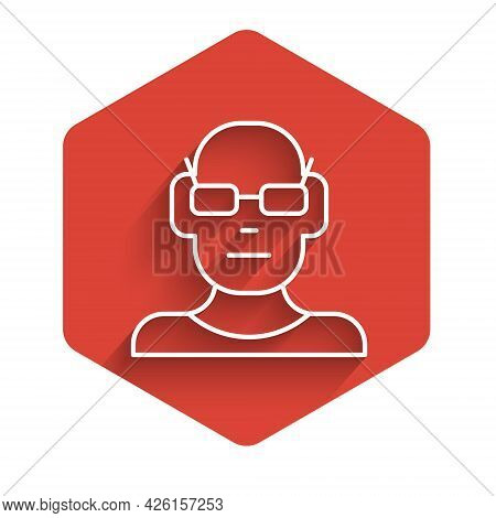 White Line Poor Eyesight And Corrected Vision With Optical Glasses Icon Isolated With Long Shadow. R
