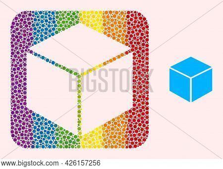 Dot Mosaic Sugar Cube Carved Icon For Lgbt. Colored Rounded Square Mosaic Is Around Sugar Cube Carve