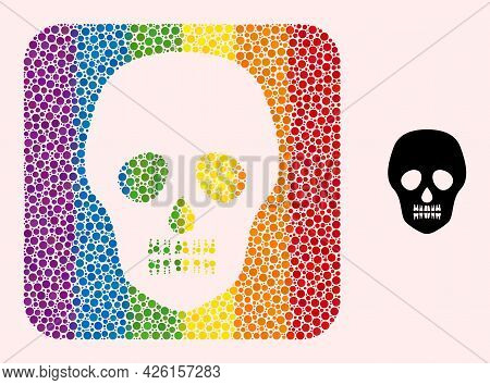 Dot Mosaic Skull Hole Pictogram For Lgbt. Color Rounded Square Mosaic Is Around Skull Stencil. Lgbt