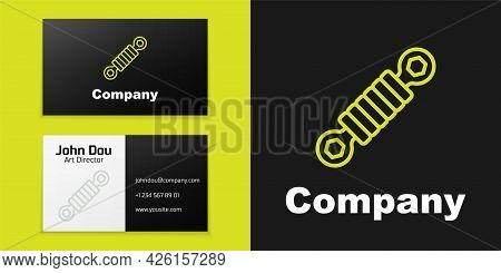 Logotype Line Shock Absorber Icon Isolated On Black Background. Logo Design Template Element. Vector