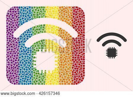 Dot Mosaic Radio Sensor Carved Icon For Lgbt. Rainbow Colored Rounded Rectangle Mosaic Is Around Rad