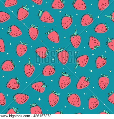 Hand Drawn Creative Strawberry Seamless Vector Pattern. Pink Berries With Black Doodle Outline On Bl