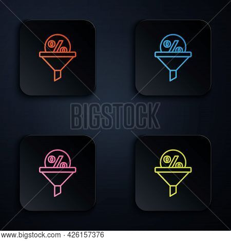 Color Neon Line Lead Management Icon Isolated On Black Background. Funnel With Discount Percent. Tar