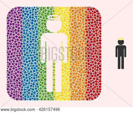 Dotted Mosaic Holy Man Figure Subtracted Pictogram For Lgbt. Color Rounded Square Mosaic Is Around H