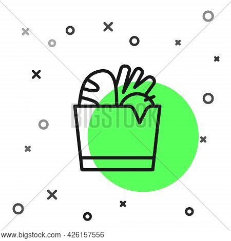 Black Line Paper Shopping Bag And Food Icon Isolated On White Background. Food Store, Supermarket. V