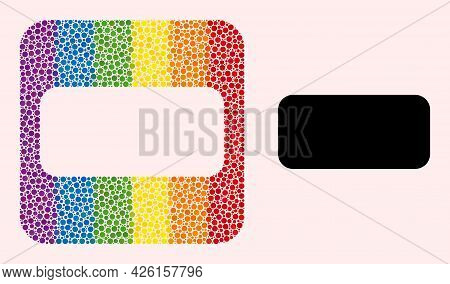 Dotted Mosaic Rounded Rectangle Carved Pictogram For Lgbt. Color Rounded Rectangle Mosaic Is Around