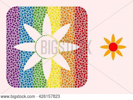 Dotted Mosaic Sun Shine Hole Icon For Lgbt. Multicolored Rounded Rectangle Mosaic Is Around Sun Shin