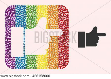 Dot Mosaic Index Finger Subtracted Icon For Lgbt. Color Rounded Square Mosaic Is Around Index Finger