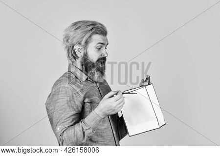 Cyber Monday Sale. Nice Purchase. Buy Gift. Bearded Man Hold Shopping Bags. Retail Concept. Happy Ho