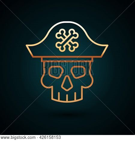 Gold Line Pirate Captain Icon Isolated On Dark Blue Background. Vector