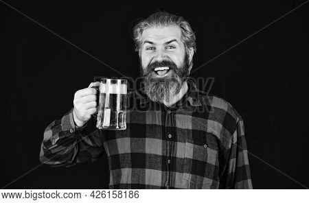 Controlling Beer Quality. Brutal Bearded Male Drinks Beer From Glass. Beer Pub. Bartender Or Barman
