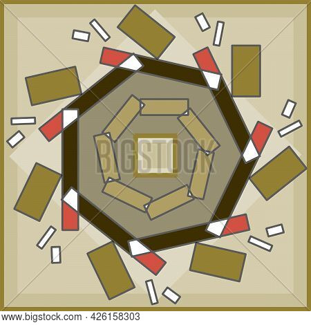 Shapes Abstract Background Symmetrical Design Using Shapes Of Square And Rectangles And Hexagon. Ear