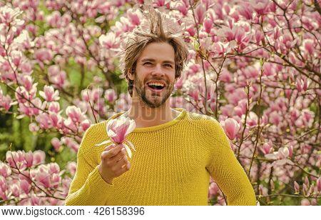 Freshness And Awakening. Spring Inspiration. Joy Of Spring. Man Flowers Background. Spring Beauty. M