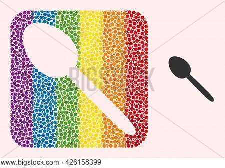 Dot Mosaic Spoon Subtracted Pictogram For Lgbt. Rainbow Colored Rounded Rectangle Mosaic Is Around S