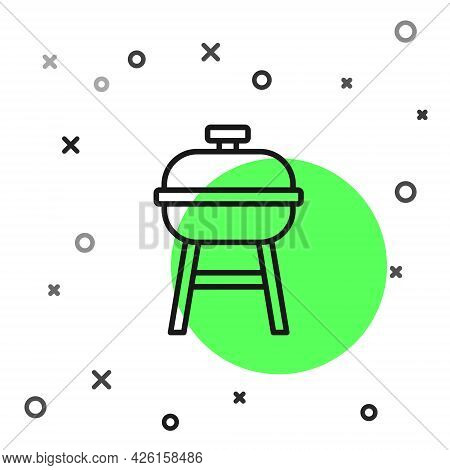 Black Line Barbecue Grill Icon Isolated On White Background. Bbq Grill Party. Vector