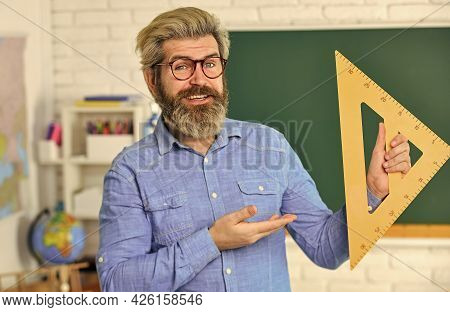 Study Mathematics. Mature Bearded Teacher In Glasses. Education Concept. Talented Pedagogue. Private