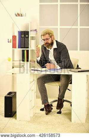 Office Life. Business Concept. Think And Make Decision. Strategy. Thoughtful Manager. Successful Man