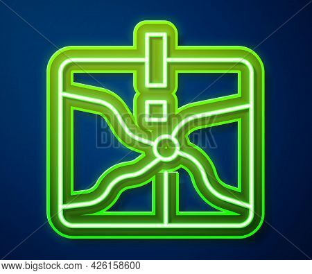 Glowing Neon Line Intersection Point Icon Isolated On Blue Background. Vector