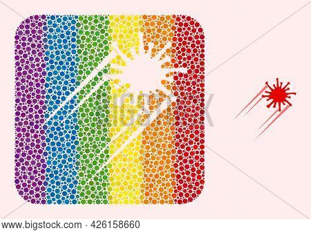 Dot Mosaic Rush Covid Virus Subtracted Icon For Lgbt. Colorful Rounded Rectangle Mosaic Is Around Ru