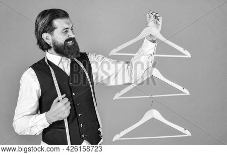This Is Perfect. Tailor Man Use Tape Measure. Professional Male Sartor With Measuring Tape And Hange
