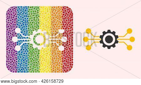 Dotted Mosaic Hitech Gear Carved Pictogram For Lgbt. Rainbow Colored Rounded Square Mosaic Is Around