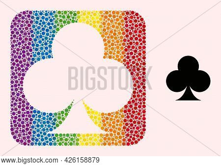 Dot Mosaic Playing Card Club Suit Subtracted Pictogram For Lgbt. Rainbow Colored Rounded Rectangle C