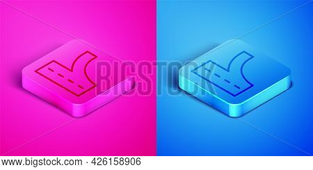 Isometric Line Road Traffic Sign. Signpost Icon Isolated On Pink And Blue Background. Pointer Symbol
