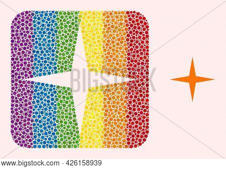 Dot Mosaic Space Star Stencil Icon For Lgbt. Color Rounded Rectangle Mosaic Is Around Space Star Ste