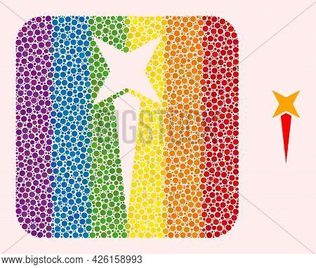 Dot Mosaic Starting Star Subtracted Icon For Lgbt. Multicolored Rounded Square Mosaic Is Around Star