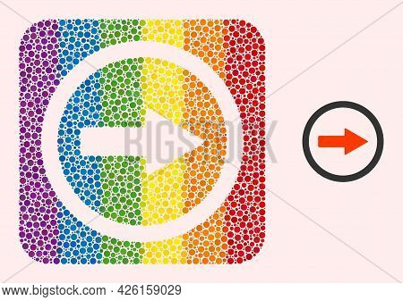 Dot Mosaic Rounded Right Arrow Subtracted Icon For Lgbt. Color Rounded Rectangle Mosaic Is Around Ro