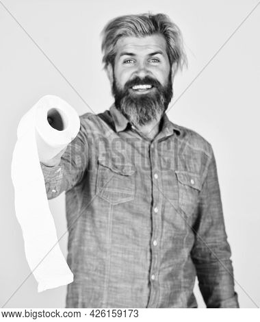 Guy Having Fun With Toilet Paper. Softness Strength And Absorbency. Prevent Toilet Paper Hoarding. M